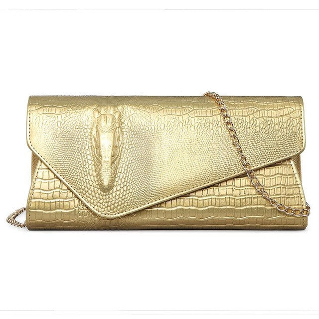 Women's Clutch - Envelope Crocodile Pattern With Chain