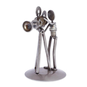 Upcycled Iron Camera Man Statuette