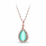 "Pica LéLa Australia ""Coral"" 18K Rose Gold Plated Necklace With Cat's Eye Center Stone"