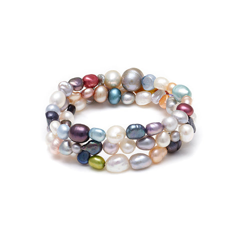 Kyoto Pearl Set Of 3 Fresh Water Pearl Stretch Bracelets