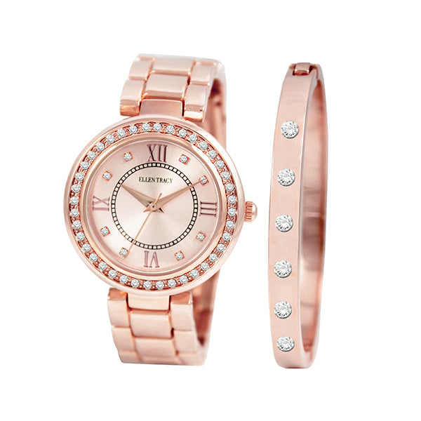 EllenTracy Motif Collection Ladies Watch Rose Gold