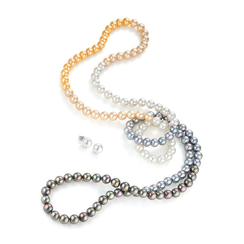 "JOIA De Majorca 8mm 45"" Muulti Color Endless Necklace And Earring Set"