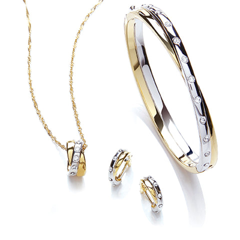 Buckley London Two Tone Pendant,  Bangle And Earring Set