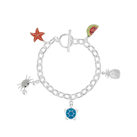 Buckley London Silver Plated Charm Bracelet