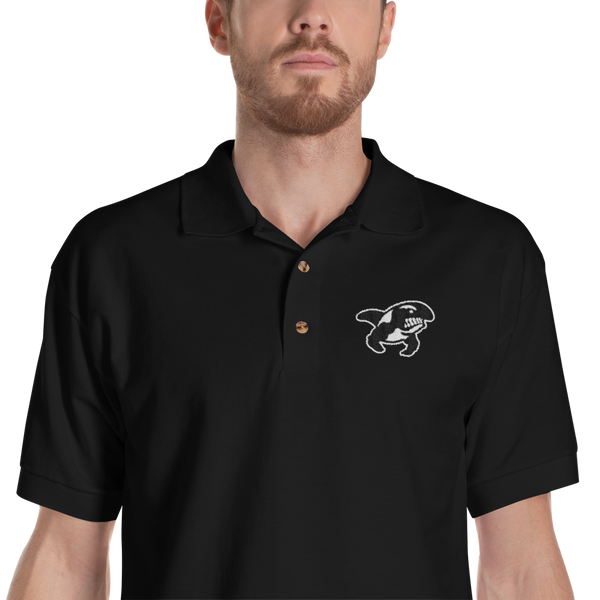 Black Embroidered Polo Shirt