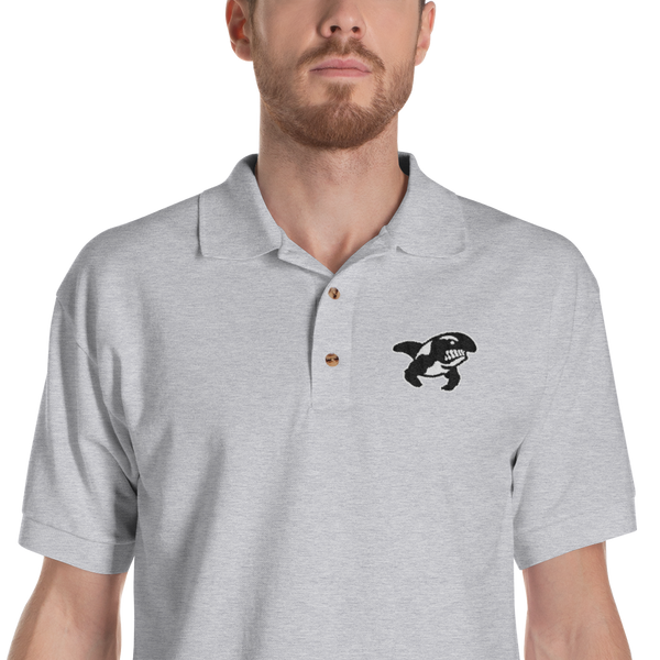 Grey Embroidered Polo Shirt