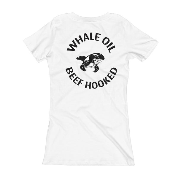Whaleoil Biker PATCH Women's V-Neck T-shirt ( *logo on back)
