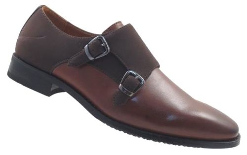 J REPUBLIC MENS MONK STRAP SHOES BROWN