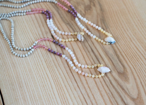 Sunset Mantra Mala Series - Peruvian Opal, Cherry Quartz, Rhodonite, Pink Aventurine, Rose Quartz, Golden Quartz