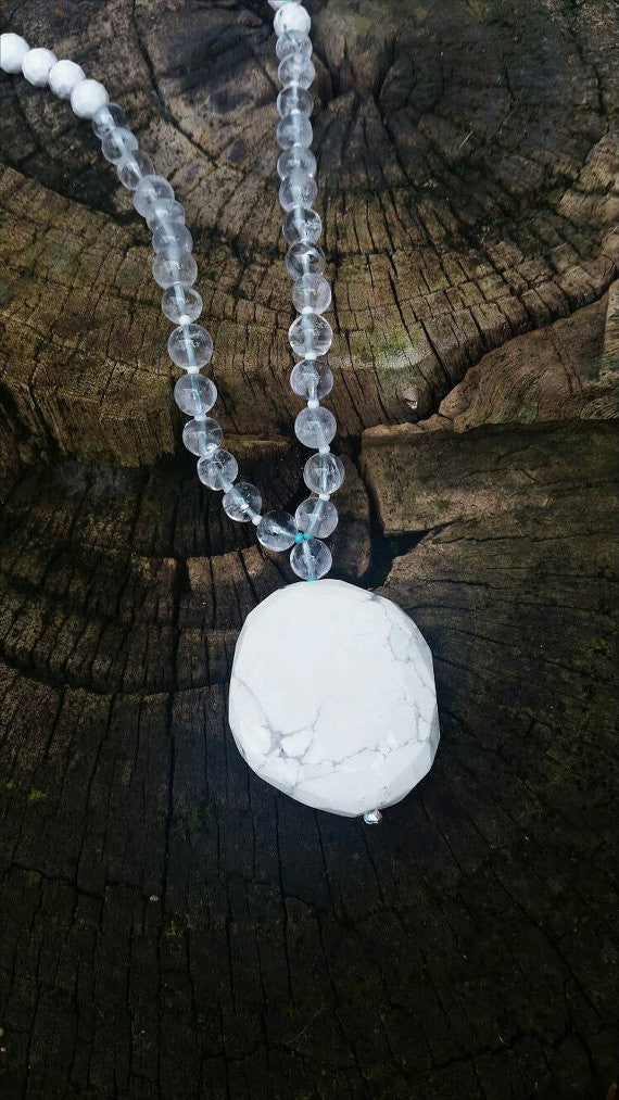 Shanti Mala - Howlite and Crystal Quartz