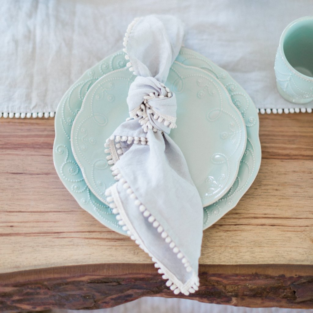 Stonewashed Linen Napkins w Pom Edge, Set of 4