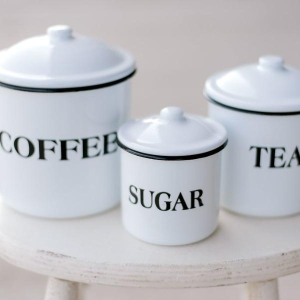 Enamel Container Set of 3 (Coffee, Tea, Sugar)