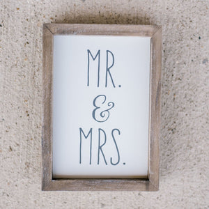 Mr. & Mrs. Tall Framed Box Sign
