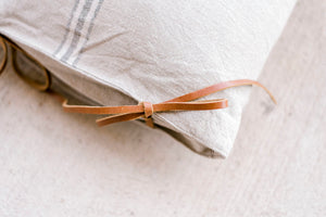 Long Cotton Pillow w Stripes & Leather Ties