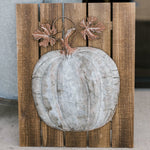 Metal Pumpkin on Wooden Plaque