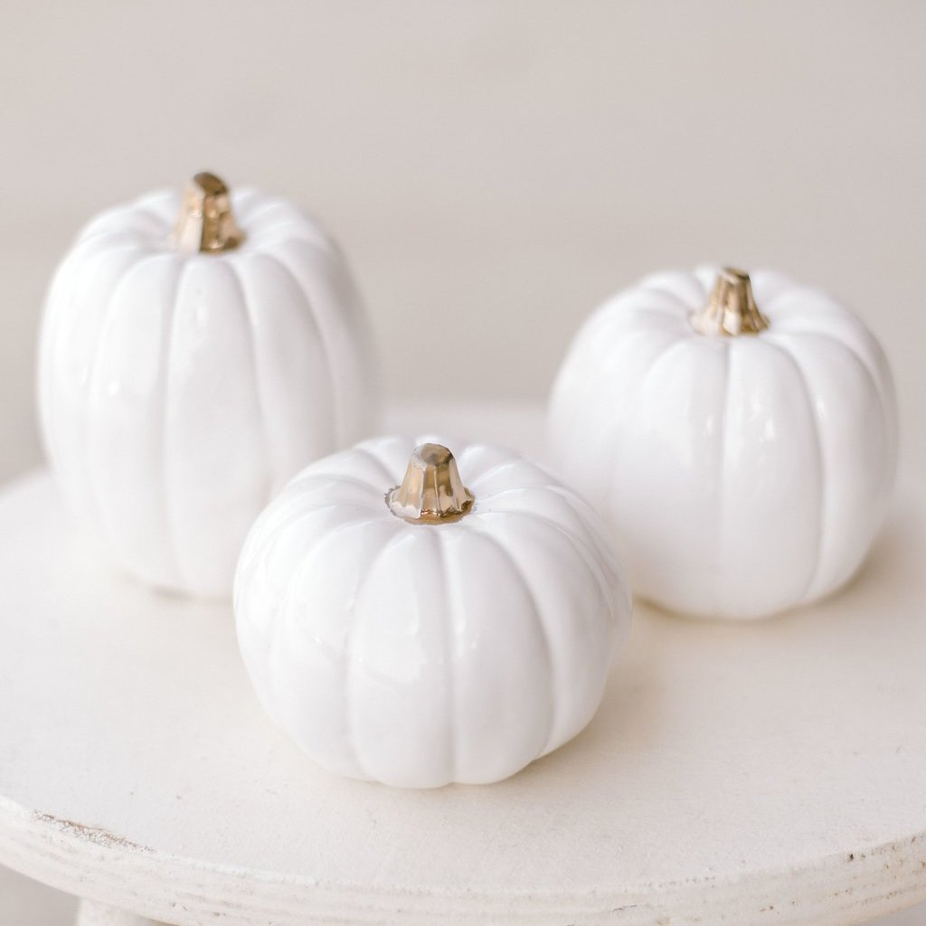 Ceramic Pumpkins with Gold Stems