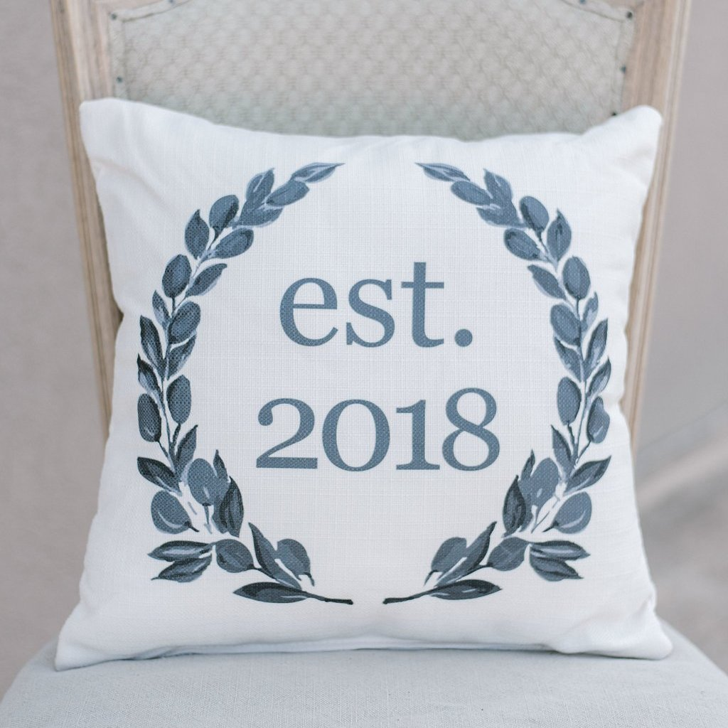 Est 2018 Black & White Pillow