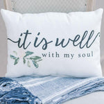 It is Well Script Rectangle Floral Pillow