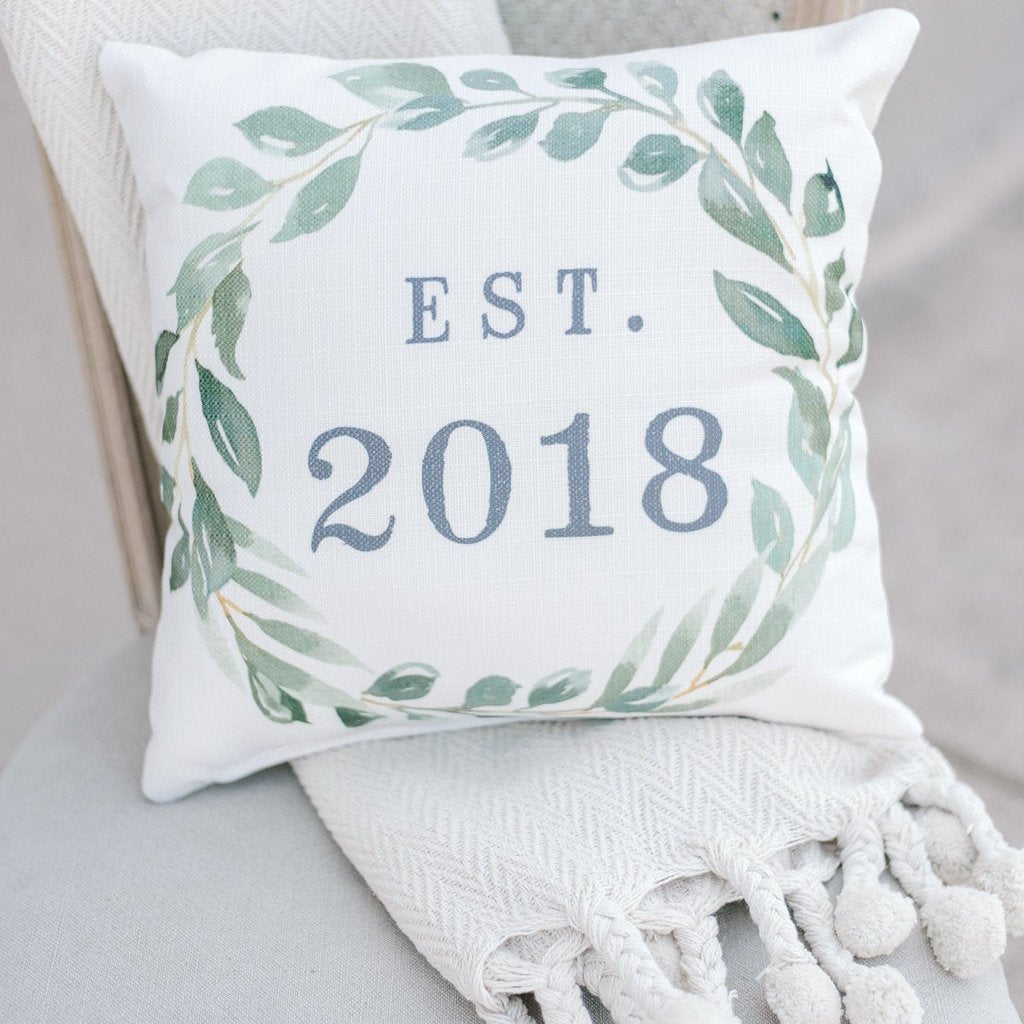 Est. 2018 Green Pillow