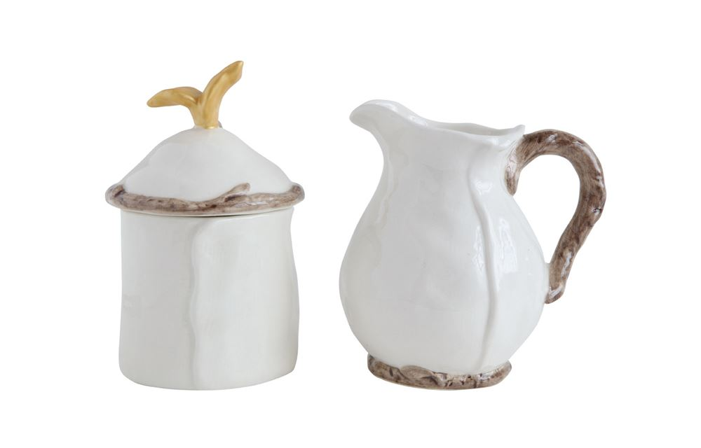 "5-1/4""H Stoneware Creamer & Sugar, Cream & Gold Finish, Set of 2"