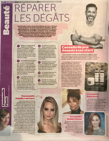 Felix Hair Care in the Montreal News paper - Full page on our products and hair tips.