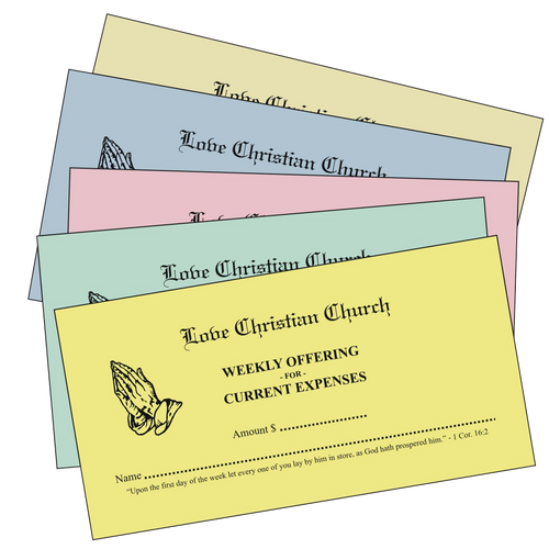Colored Pew Tithing Envelopes - envelopes4churches.com