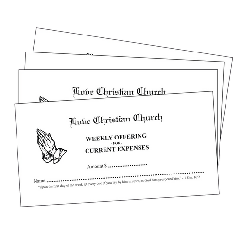 White Pew Tithing Envelopes - envelopes4churches.com