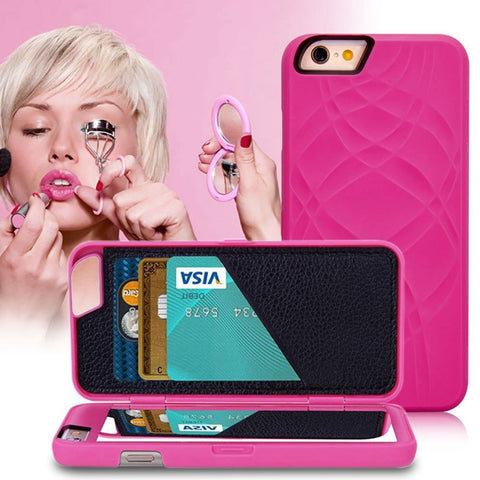 Italian Design Women Case with Hidden Mirror and Wallet for iPhone