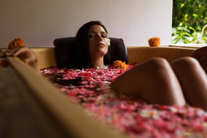 girl in flower bath