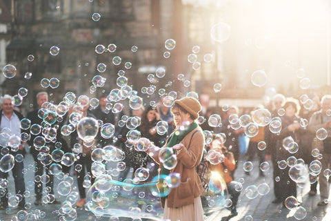 woman with a lot of bubbles