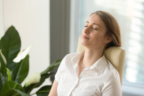 Woman Very Relaxed After Using Essential Oils for Anxiety