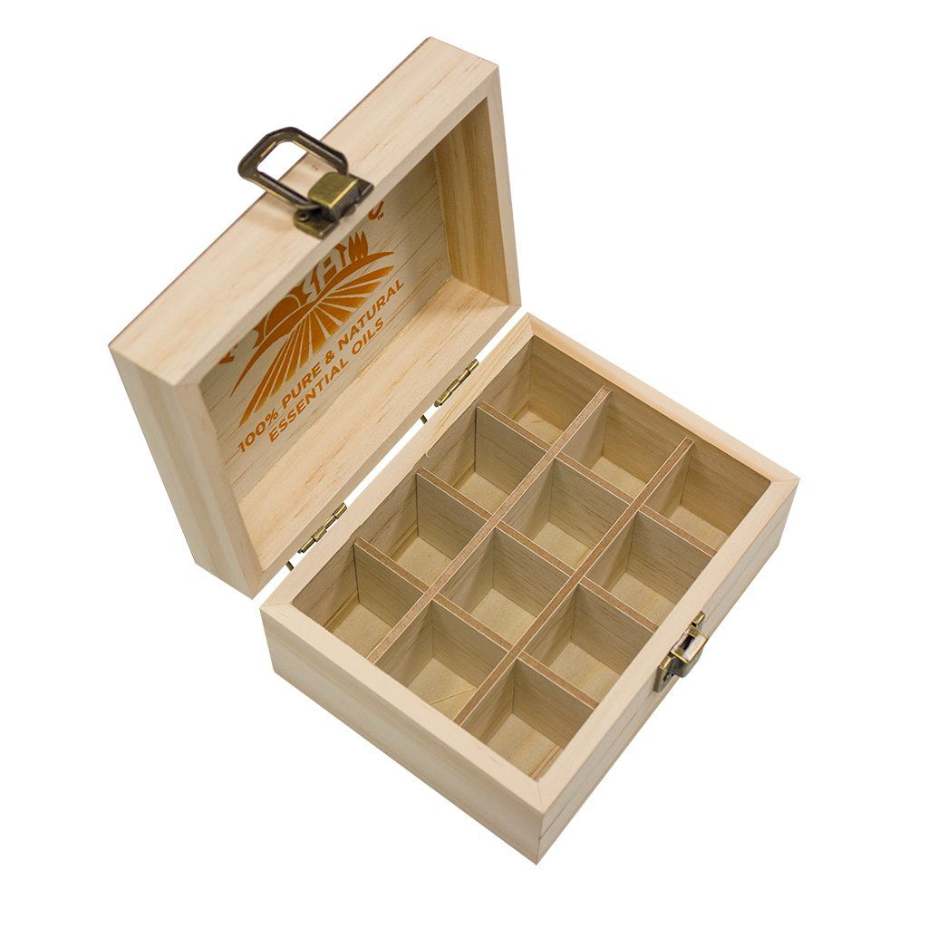Wooden Storage Box - 12 Slots For Essential Oils - GuruNanda