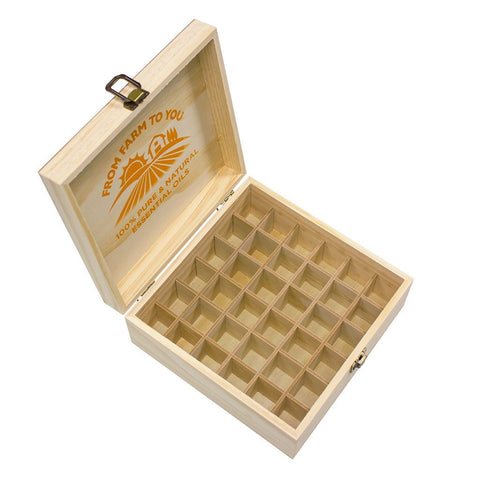 GuruNanda 36 Count Wooden Storage Box for Essential Oils