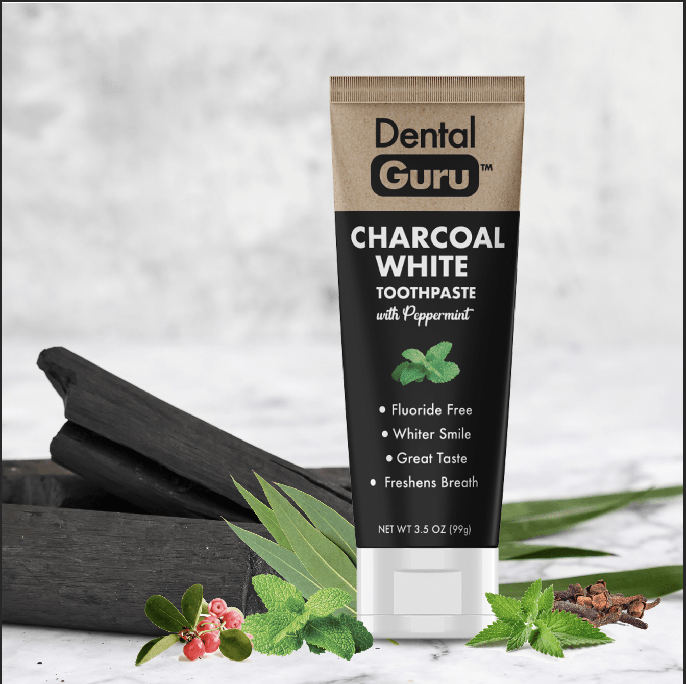 Activated Charcoal Toothpaste With Peppermint (6 Pack): Charcoal White not only lifts stains without harsh chemicals, but it also freshens breath with a blend of six natural essential oils headlined by peppermint for a great taste!