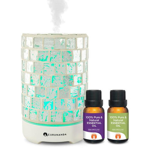 Silver Crystal Diffuser + 2 Oils - Glass Essential Oil Diffuser - GuruNanda