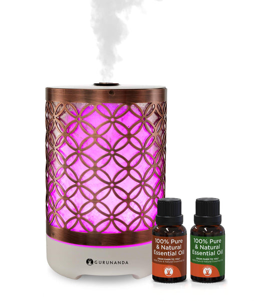 Elegance Diffuser + 2 Bonus Oils - Ultrasonic Diffuser for Essential Oil - GuruNanda