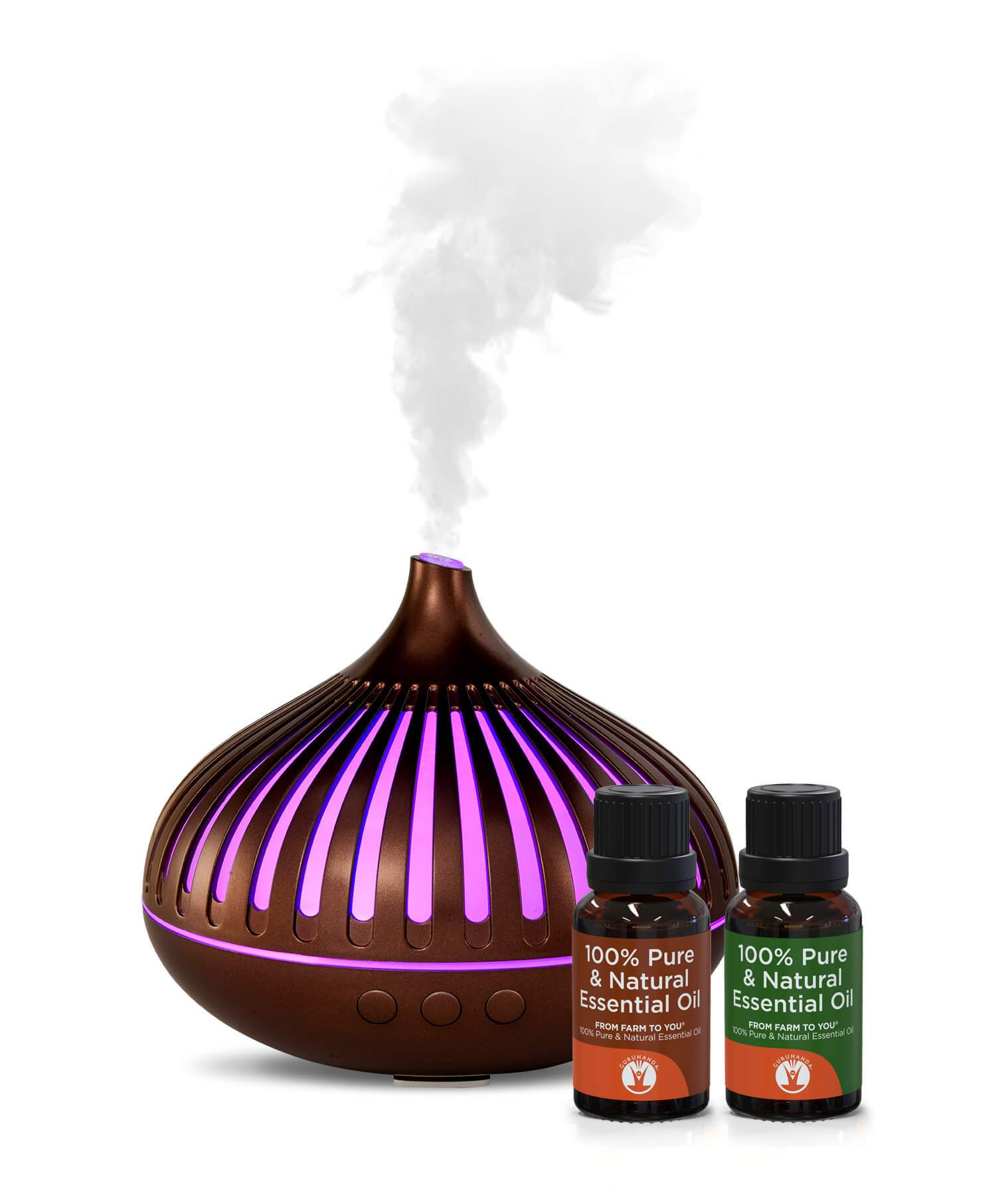 Festival Diffuser + 2 Bonus Oils - Best Ultrasonic Diffuser for Essential Oils - GuruNanda