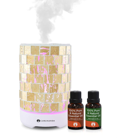 Gold Crystal Diffuser + 2 Oils - Glass Essential Oil Diffuser - GuruNanda