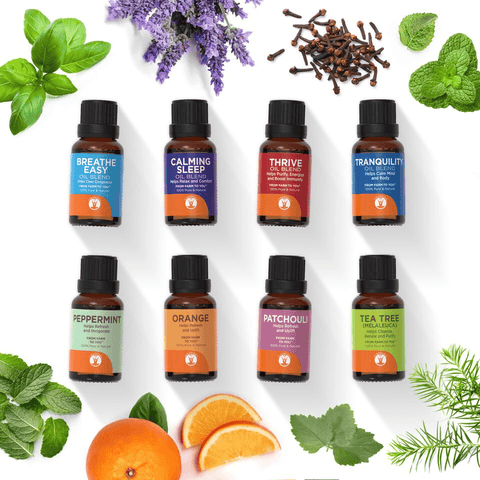 Half and Half - Set of 8 Essential Oils - 100% Pure & Natural Therapeutic Grade - GuruNanda