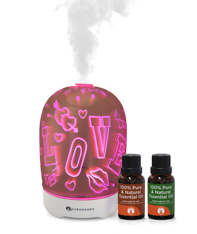 Love Diffuser + 2 Bonus Oils - Glass Diffuser for Essential Oils - GuruNanda