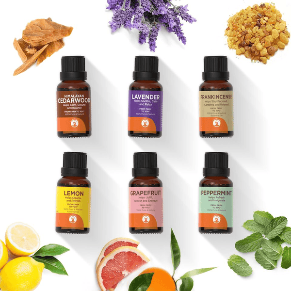 Morning Noon and Night - Set of 6 Essential Oils - 100% Pure & Natural Therapeutic Grade - GuruNanda