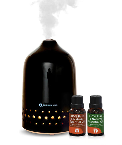 Black Oasis Ceramic Diffuser + 2 Bonus Oils - Best Ceramic Diffuser for Essential Oils - GuruNanda
