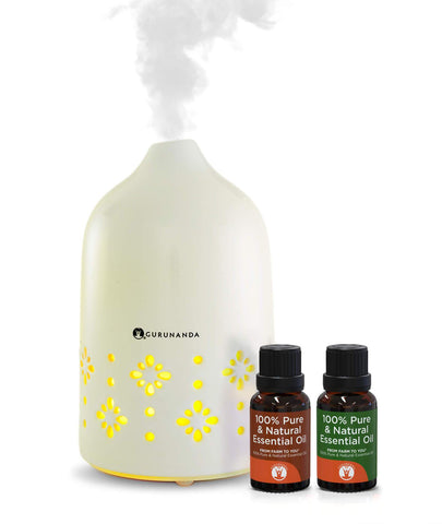 White Oasis Ceramic Diffuser + 2 Bonus Oils - Best Ceramic Diffuser for Essential Oils - GuruNanda