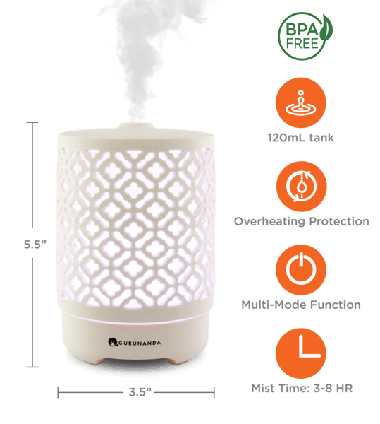 TAJ Ceramic Diffuser + 2 Oils - Ultrasonic Essential Oil Diffuser - GuruNanda