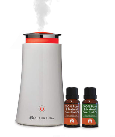 White Tower Diffuser + 2 Oils - Ultrasonic Essential Oil Diffuser - GuruNanda