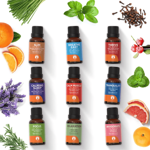 Blended Family - Set of 9 Essential Oil Blends - 100% Pure & Natural Therapeutic Grade - GuruNanda