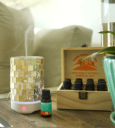 GuruNanda® Crystal™ Gold Glass Essential Oil Diffuser + 2 Oils Lifestyle
