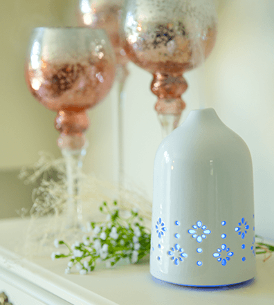 White Oasis Ceramic Diffuser + 2 Bonus Oils - Best Ceramic Diffuser for Essential Oils