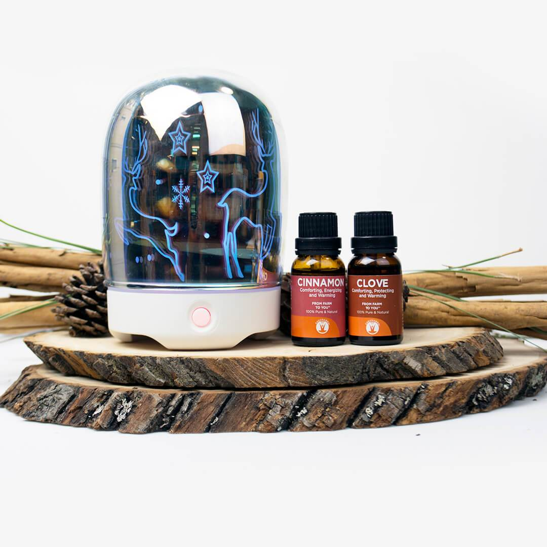 Reindeer Diffuser + 2 Oils - Best Holiday Glass Essential Oil Diffuser