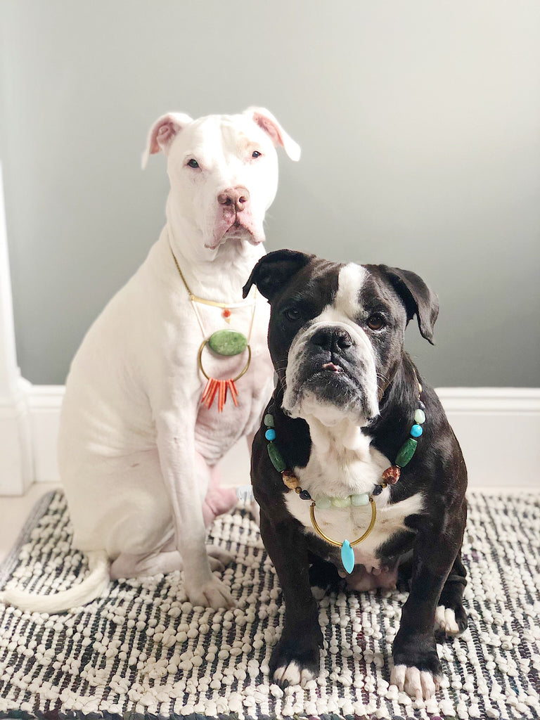 TWO DOGS, TWO STATEMENT NECKLACES